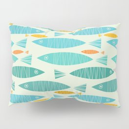 Shimmering Scandinavian Fish In Blue And Gold Pattern Pillow Sham