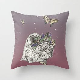 The Boar and the Butterflies at Dusk Throw Pillow
