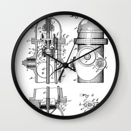 Fire Fighter Patent - Fire Hydrant Art - Black And White Wall Clock
