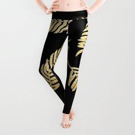 Gold Glitter Palms  |  Black Background Leggings