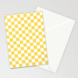 Mustard Yellow And White Checkerboard Pattern Stationery Cards