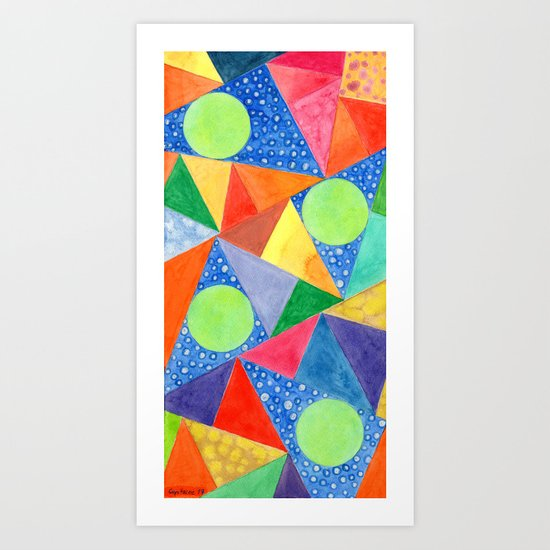 Lime Green Circles within a Cool Triangles Pattern Art Print