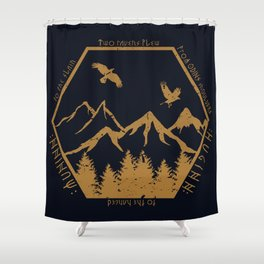 Two ravens flew Shower Curtain