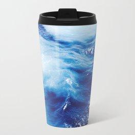Navy Blue Ocean Wave Travel Mug