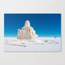 Dakar, Bolivia Monument in Salar de Uyuni, Salt Flats Canvas Print
