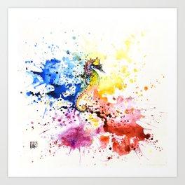 Underwater rainbow : the seahorse Art Print