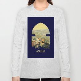 Vintage Litho Travel ad Assisi Italy Long Sleeve T-shirt