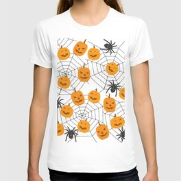 Halloween Pattern Spider Pumpkin T-shirt