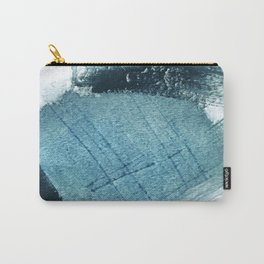 Pacific: a minimal abstract mixed media piece in blues and white Carry-All Pouch