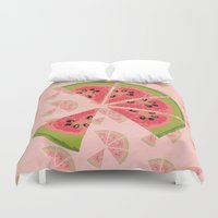 watermelon Duvet Covers featuring Watermelon  by Brocoli ArtPrint