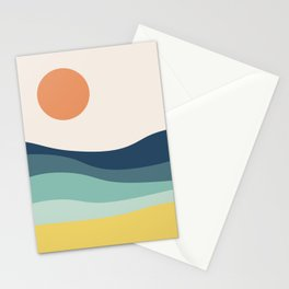 Abstract landscape with sea and sun Stationery Cards