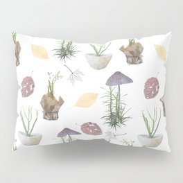 Mushrooms, spurge, horsetail, lily of the valley, leaves. Pillow Sham