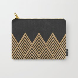 Geometric Black and Gold Carry-All Pouch