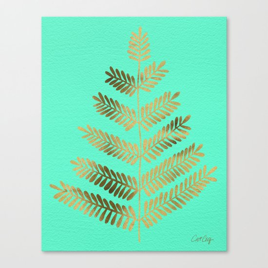 Leaflets – Turquoise & Gold Canvas Print