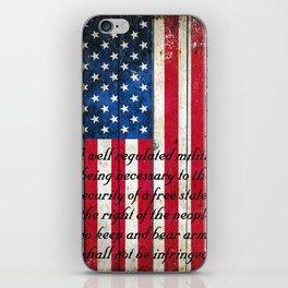 2nd Amendment on American Flag - Vertical Print iPhone Skin