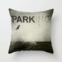 banksy Throw Pillows featuring Banksy Tag by Adam Reynolds