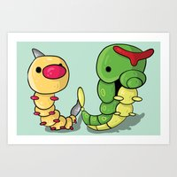 Weedle and Caterpie Art Print