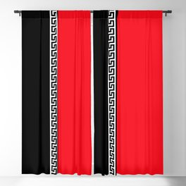 Greek Key 2 - Red and Black Blackout Curtain