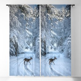 Winter Wildlife III - Deer Fawn Forest Adventure Nature Photography Blackout Curtain