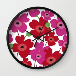 Graphic flowers:Royal red Wall Clock