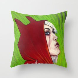 Portrait - Devilish Red Hoodie Throw Pillow