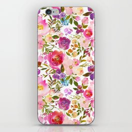 Modern pink teal green hand painted leaves floral iPhone Skin
