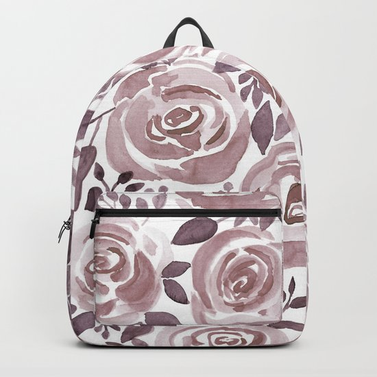 Watercolor brown roses on a white background . Backpack