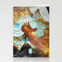 """flora bowley Stationery Cards featuring """"Two Hearts"""" Original Painting by Flora Bowley by Flora Bowley"""