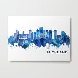 Auckland New Zealand Skyline Blue Metal Print