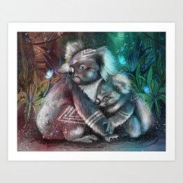 Koalas Bushfire Art Print