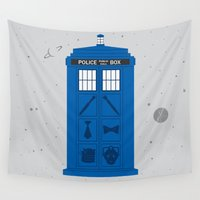 notorious Wall Tapestries featuring The Tardis Got Some Ink by Ashley Hay