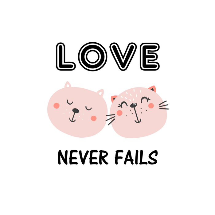 Love Never Fails Two Cats Comforters