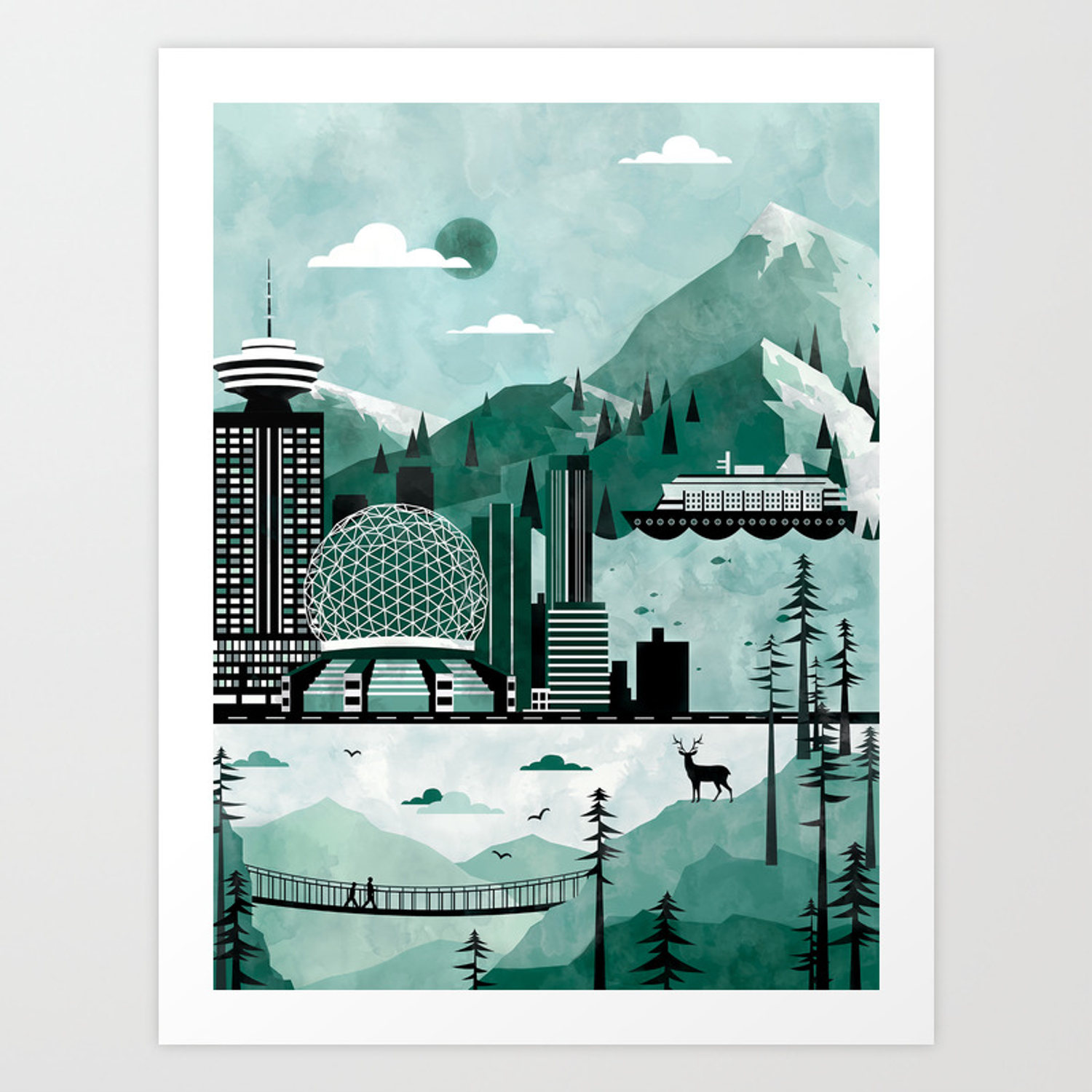Vancouver Travel Poster Illustration Art Print By Claireillustrations Society6