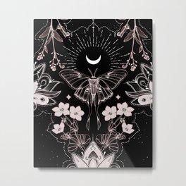 Bohemian Luna Moth On Black Metal Print