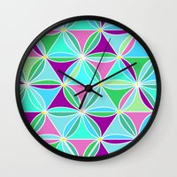 quilt Wall Clocks featuring june quilt by Ariadne