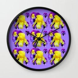 LILAC MONTAGE YELLOW IRIS PURPLE PANSY ART Wall Clock