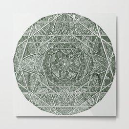 Milkweed Mandala | Green Metal Print