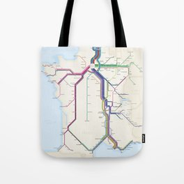 Itinéraires de train à grande vitesse de la France Tote Bag