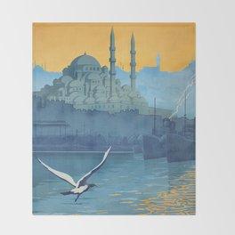 Mid Century Modern Travel Vintage Poster Istanbul Turkey Grand Mosque Throw Blanket