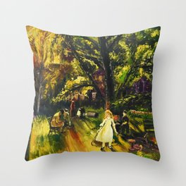 Sunday in Gramercy Park, NYC landscape painting by George Wesley Bellows Throw Pillow