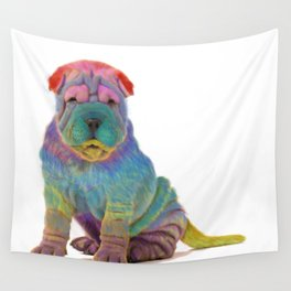 Colorful Sharpei Wall Tapestry