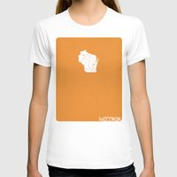 wisconsin T-shirts featuring Wisconsin Minimalist Vintage Map by Finlay McNevin