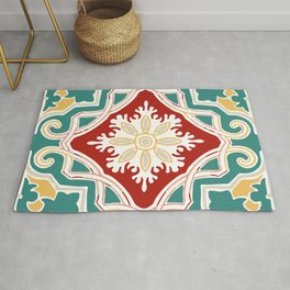Red Green and Golden Color Bohemian Tile Pattern Rug