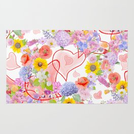 seamless  pattern with flowers and hearts Rug