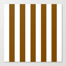 Dark bronze brown - solid color - white vertical lines pattern Canvas Print