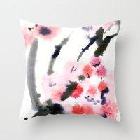 sakura Throw Pillows featuring Sakura by Nina