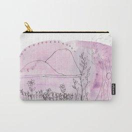 Little Pink Landscape Watercolor Carry-All Pouch