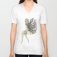 antler V-neck T-shirts featuring ANTLER by auntikatar