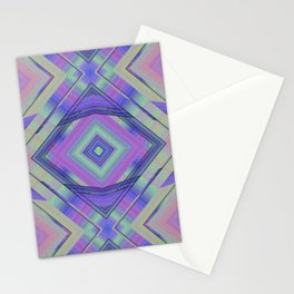 Purple and Green Woven Squares Stationery Cards