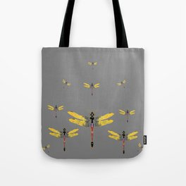 GOLDEN-RED DRAGONFLIES ON GREY Tote Bag